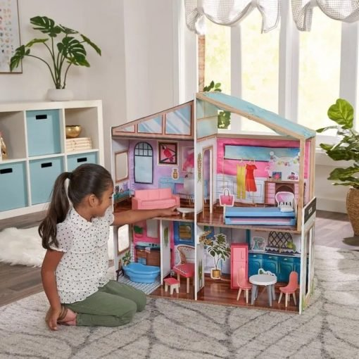 Kidkraft Designed by Me Magnetic Makeover Dollhouse allows kids to put their personalized decorating touches and make it their own.