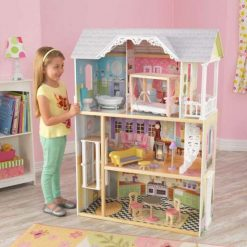 Kidkraft Kaylee Dolls House is designed and decorated in the style of a southern mansion, over three floors, with 10 play pieces