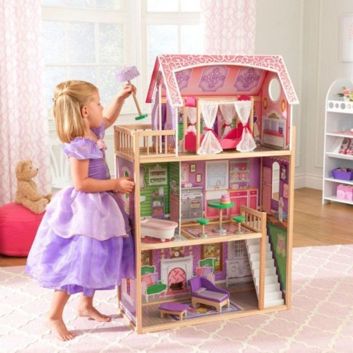Kidkraft Ava Doll House is a fully decorated and furnished Wooden Doll House that is laid out over three floors and a balcony