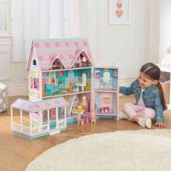 Kidkraft Abbey Manor Dollhouse with Victorian styling uses a double-hinged design to open up for imaginative fun or fold away for convenience.