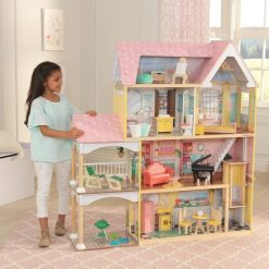 Kidkraft Lola Doll House is laid out over four levels, with six separate fully decorated and furnished rooms, incl. 30-piece accessory set