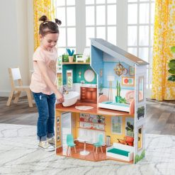 Kidkraft Emily Doll House is a cheery wooden dolls house laid out over three levels, designed to accommodate Dolls up to 30cm