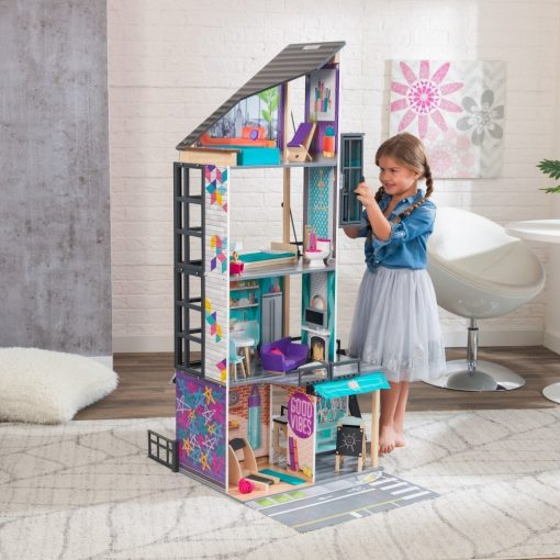 Kidkraft Bianca City Life Dollhouse is a skyscraper-inspired four-story Doll House, designed for Barbies, Bratz, and Moxie Girl Dolls.