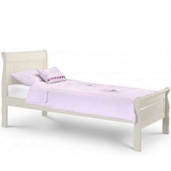 Amelia Sleigh Bed is a full sized Kids Single Bed in beautiful soft white finish, styling would suit a modern or traditional setting