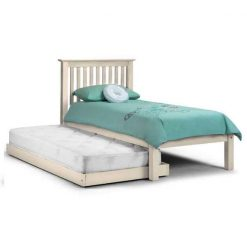 Barcelona Hideaway Bed in Stone White, beautifully finished wooden kids single bed that has a pull-out guest bed,in timeless shaker styling