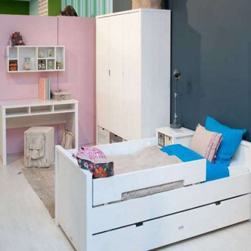Bopita Basic Wood Single Bed is a solid wood children's bed, designed for children, teens, or adults, full-size single bed, in Whitewash