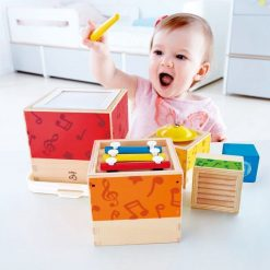 Hape Stacking Music Set will let your child explore melody and rhythm with this innovative Wooden Musical Toy.