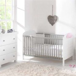 Angelina Cot Bed has a traditional and timeless design with a fresh modern look, in a White and Grey Finish.