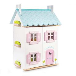 Le Toy Van Blue Bird Cottage Doll House is a beautifully designed and finished wooden dollhouse complete with 37 furniture pieces.