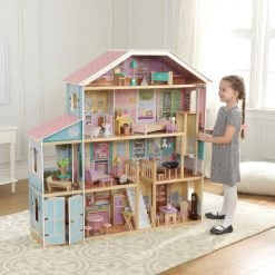 Kidkraft Grand View Mansion is a large open planned wooden doll house laid out on 3 levels, complete with furniture