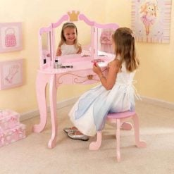 Kidkraft Princess Vanity & Stool Set is sure to make any young girl feel like royalty and would adds a touch of elegance to your child's room