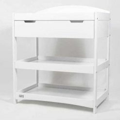 Stockholm wooden baby changing unit in white with open shelves