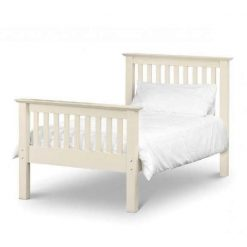Barcelona Bed is a contemporary shaker style kids bed frame finished in an appealing soft white finish, with solid pine bed slats