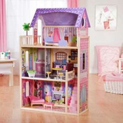 Kidkraft Kayla Dollhouse is a beautiful wooden dolls house for young girls who want their fashion dolls to live in style, with 10 play pieces