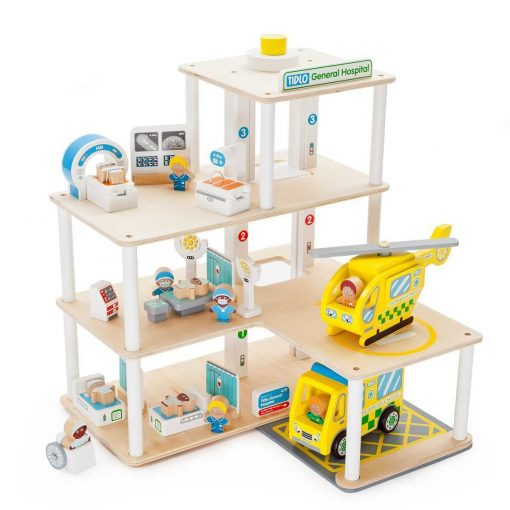 Tidlo General Hospital Playset, with 30 wooden play pieces, would be the perfect setting to nurse your favourite character back to health.