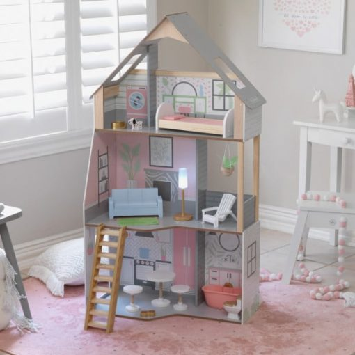 KidKraft Alina Dollhouse is airy and bright, for extreme fun in a small space, the farmhouse-style design is built up, not out, to maximize function and fun. Store accessories in the hidden compartment in the sofa.