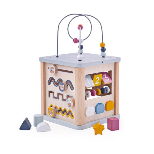 Bigjigs Wooden Activity Cube with Bead Frame, suitable from 12 months