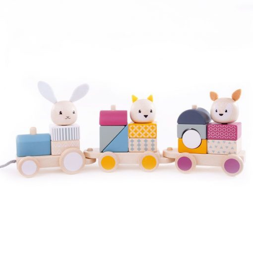 Bigjigs Woode Pull Along Activity Train in natural colours