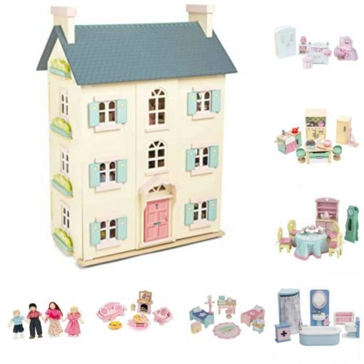 Cherry Tree Hall Traditional Wooden Doll House fully decorated and comes with detailed furniture