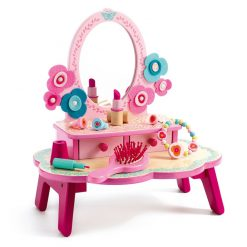 """Djeco Flora Dressing Table is a """"pretty in pink"""" toy dressing table with plenty of accessories for imaginative fun to be just like mummy."""