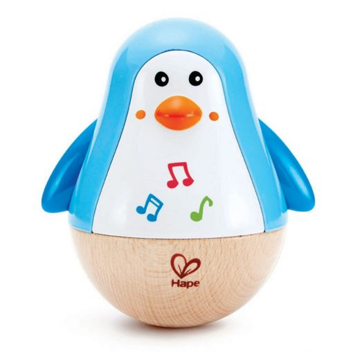 Hape Penguin Musical Wobbler is a delightful wooden toy making soothing tinkling sounds combined with a funny waddle