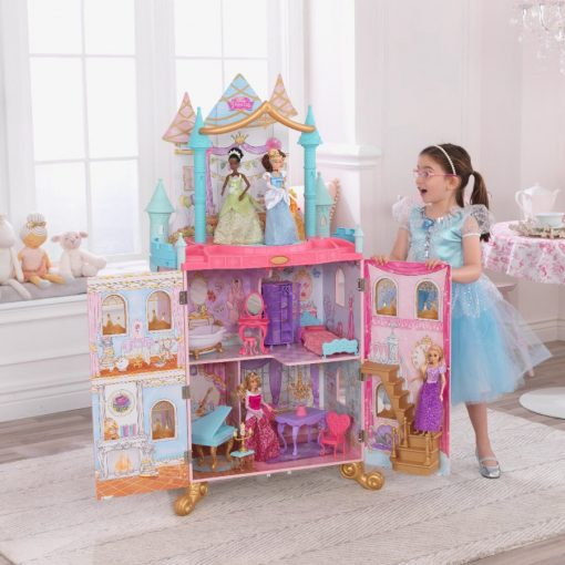 KidKraft Disney Princess Dance & Dream Dollhouse comes complete with 20 regal furniture pieces and plays 3 songs, over 1.3 meters tall