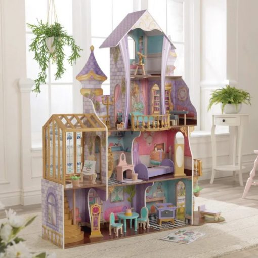 Enchanted Greenhouse Wooden Doll House by Kidkraft laid out on 4 levels and comes complete with furniture and accessories