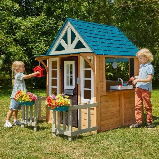 Kidkraft Outdoor Wooden Lakeside Bungalow Playhouse with lots of accessories