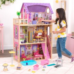 Kidkraft Patio & Pool Dollhouse Set is a wooden three-story Doll House created for dolls to enjoy the good life both indoors and out.