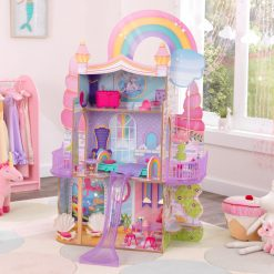 Kidkraft Rainbow Dreamers Unicorn Mermaid Dollhouse welcomes all one-of-a-kind creatures to this three-story wooden dolls house