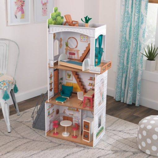 KidKraft Rowan Dollhouse is a townhouse-styled wooden dolls house made for discovering, exploring, and creating bigger worlds of play.