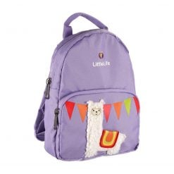 Littlelife kids backpack in purple with Llama theme