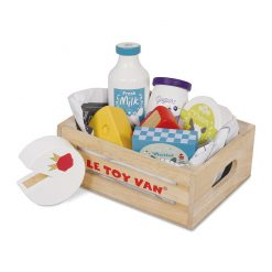 Le Toy Van Cheese & Dairy Crate set features fresh milk, block of butter, pot of yogurt, pot of cream and 3 delicious cheeses