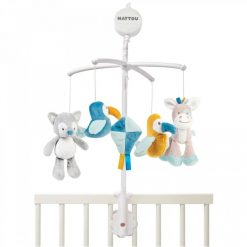 Nattou musical momile for babies with soft detachable toys
