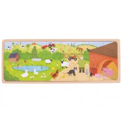 Bigjigs On the Farm Puzzle is a 24 piece wooden tray puzzle, that will captivate young minds as they piece together this cheery farmyard scene