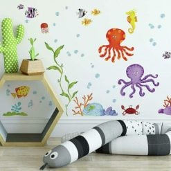 Roommates Under The Sea Wall Stickers are fun nautical themed kids wall decals, that are removable, and repositionable.