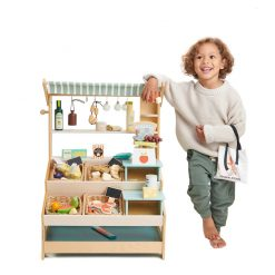 Tenderleaf Toys General Stores is a wooden market stall with shelves and two inter-changeable mini platforms, complete with Canopy