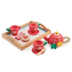Tender Leaf Toys Tea Tray Set includes, 2 cups and saucers, a teapot with lid, milk jug, spoon, 2 yummy biscuits, and 2 fruity teabags