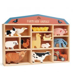 Tenderleaf Toys 13 Farmyard Animals & Shelf is a wonderful wooden playset for small hands, this collection of gorgeous farmyard animals