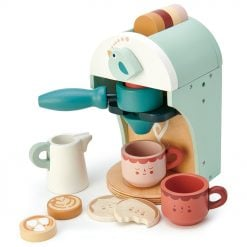 Tenderleaf Toys Babyccino Coffee Machine is a wonderful wooden playset that would compliment any play kitchen or play shop