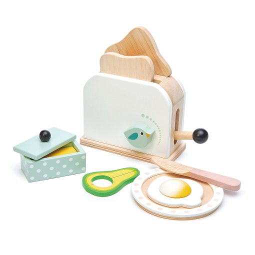 Tenderleaf Toys Breakfast Toaster Set is a fabulous wooden toaster play set that comes with a poached egg and avocado side, for 3 years +