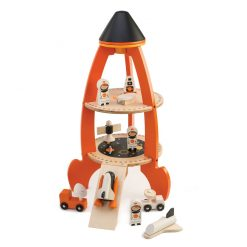Tenderleaf Toys Cosmic Rocket is ready for takeoff! a great wooden toy to create an interest in astronomy, science and imaginative role play.