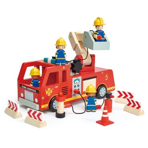Tenderleaf Toys Fire Engine is a bright wooden fire engine, with an unrolling hose and a natural wood extending arm to take the 4 firemen