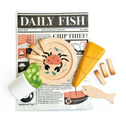 Tenderleaf Toys Fish and Chips Supper, wooden playset represents a traditional seaside supper! with its fish and chips and all the trimmings,