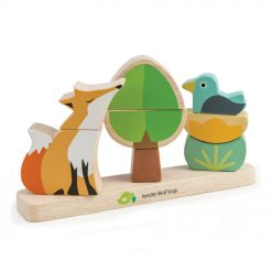 Tenderleaf Toys Foxy Magnetic Stacker, features 3 mini stackers on a solid wood base, a fox , a tree and a bird on a flower,