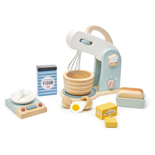 Tenderleaf Toys Home Baking Set is a stylish food mixer, wooden playset with metal swivel whisk, wooden bowl, and clacking on and off button.