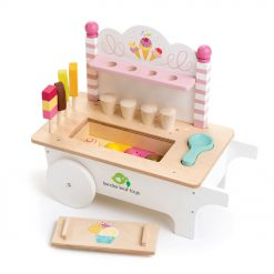 Tenderleaf Toys Ice Cream Cart is a wonderfully made wooden ice cream cart, with popsicles, lollies and ice cream cones, ready to be served!