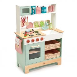 Tenderleaf Toys Kitchen Range is a beautifully designed wooden play kitchen, complete with accessories and wicker basket drawers