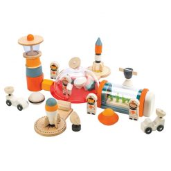 Tenderleaf Toys Life on Mars is a 16 piece space station wooden toy playset, that will be a hit with little space mad astronauts.