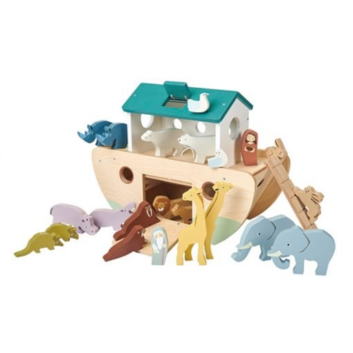 Tenderleaf Toys Noah's Ark is a solid wooden Noah's Ark is painted in soft contemporary colours that enhance the use of top quality plywood used throughout.